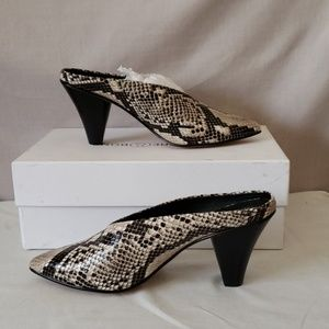 New with box leather snakeskin mules